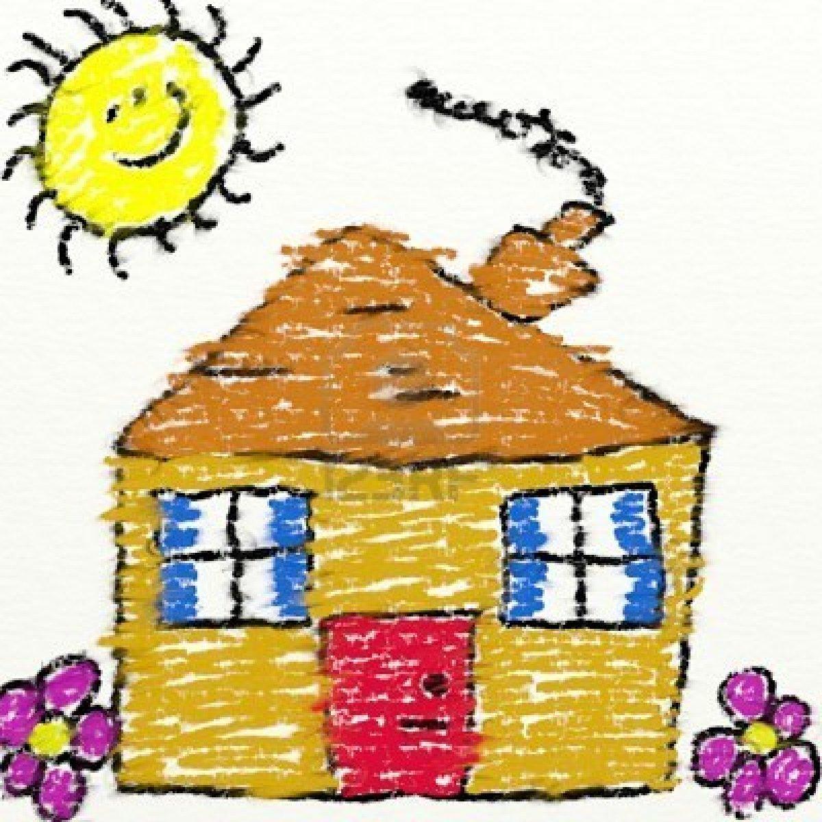 1584021 bambini stile di disegno di una casa di gesso con for Disegno della casa di architettura